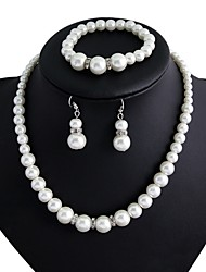 Women's Silver Imitation Pearl Wedding Party Jewelry include Necklace & Earrings & Bracelet
