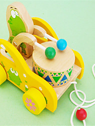 Frog Drum Cart Wooden Pull Toy Car Walker
