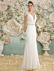 A-Line Plunging Neckline Floor Length Chiffon Lace Wedding Dress with Crystal Lace Sash / Ribbon Bow Button by LAN TING BRIDE®