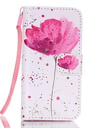 Lotus-Muster magnetischen Leder für iphone mit Lanyard Schutzhülle stehen se / 5 / 5s
