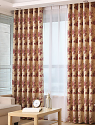Two Panels Jacquard Floral Blackout  Curtain