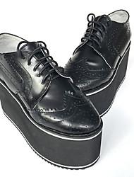 Sapatos Punk Confeccionada à Mão Salto Plataforma Sapatos Cor Única 8 CM Preto Para Feminino Pele