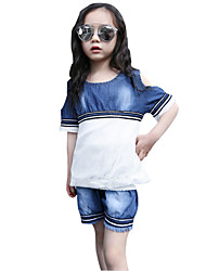 Girl's Cotton Summer Cowboy Pants Off Shoulder Grid Dress Two-piece Suit
