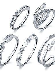 5pcs/set Leaves Heart Crown Alloy Ring Statement Rings Daily / Casual 1set