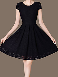 Women's Vintage Lace Dress,Solid Round Neck Knee-length Short Sleeve Black Polyester Summer