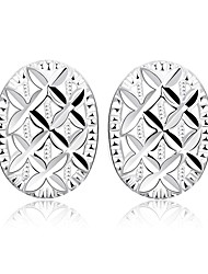 lureme®Fashion Style Silver Plated Oval Shaped Stud Earrings