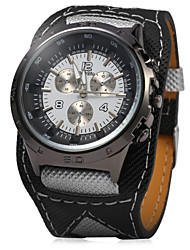 JUBAOLI Sport Watch Quartz Leather Band Black