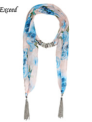 D Exceed Desigual Jewelry Shawls And Scarves Women's Floral Print Soft Chiffon Winter Beads Pendant Scarf Necklace