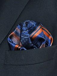 Men's Pocket Square  Navy Blue Stripes Solid 100% Silk Wedding Business