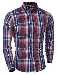 Men's Plaids Casual / Formal Shirt,Cotton Long Sleeve Blue / White