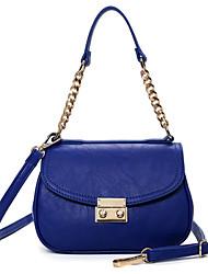 Women PU Saddle Shoulder Bag / Satchel-White / Blue / Red / Black