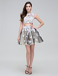 TS Couture® Prom  Cocktail Party Dress - Two Pieces Ball Gown High Neck Short / Mini Tulle with Appliques / Beading / Lace