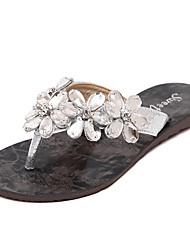 Women's Shoes Leatherette Flat Heel Slingback Sandals Dress Black / Silver