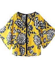 Women's Floral Blue / Yellow Shirt,V Neck ½ Length Sleeve