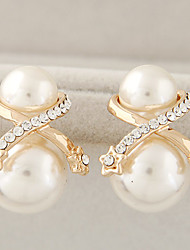 Women's Fashion Boutique Elegant Sweet Star Shiny Rhinestone Pearl Stud Earrings