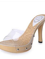 Zapatos de mujer-Tacón Robusto-Punta Abierta-Sandalias-Oficina y Trabajo / Vestido / Fiesta y Noche-Semicuero-Beige