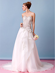 Lanting A-line Wedding Dress - Ivory Court Train Strapless Organza