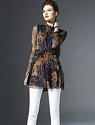 Women's Casual/Daily Street chic Spring Blouse,Print Stand Long Sleeve Blue Silk Thin