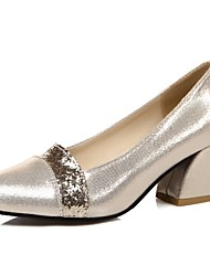Women's Shoes Chunky Heel Round Toe Heels Wedding / Party & Evening / Dress Black / Silver / Gold