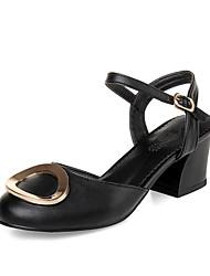 Chaussures Femme-Bureau & Travail / Habillé / Décontracté-Noir / Rose / Blanc-Gros Talon-Talons / Bout Arrondi-Talons-Cuir Verni