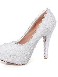Women's Wedding Shoes Heels / Platform / Round Toe Heels Wedding / Party & Evening / Dress White(Genuine leather)