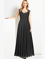 Women's Deep V Neck Lace Stitching Chiffon Big Swing Solid Maxi Dress