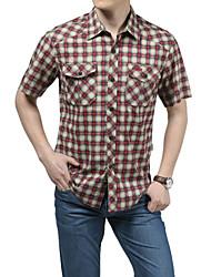 Men's Short Sleeve Shirt,Cotton Casual / Work / Formal / Sport Plaids