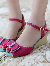 Women's Shoes Fleece Wedge Heel Wedges Sandals Office & Career / Dress / Casual Blue / Yellow / Red
