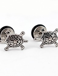 Crawling Tortoise Stainless Steel Screwback Earrings