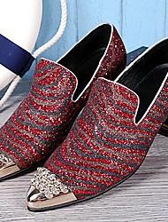 Sapatos Masculinos Mocassins Branco / Vinho Couro Casamento / Festas & Noite