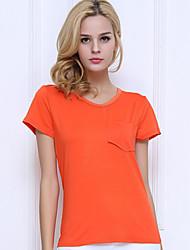Damen Solide Einfach / Street Schick Lässig/Alltäglich T-shirt,V-Ausschnitt Sommer KurzarmBlau / Rot / Weiß / Schwarz / Grau / Grün /
