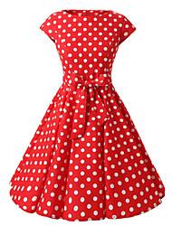Trapèze Robe Femme Sortie Vintage,Points Polka Bateau Mi-long Manches Courtes Coton Toutes les Saisons Taille Normale
