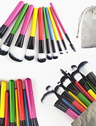 10Conjuntos de pincel / Pincel para Blush / Pincel para Sombra / Pincel para Lábios / Pincel de Sombrancelha / Pincel de Cílio (redonda)