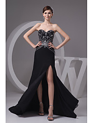 Formal Evening Dress-Black Trumpet/Mermaid Sweetheart Court Train Chiffon