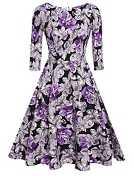 Women's Vintage Swing Dress,Floral Round Neck Knee-length ½ Length Sleeve Red / White / Purple Cotton Fall