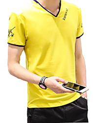 2016 summer new men's T-shirt young Korean slim printing V collar half sleeve shirt T-shirt