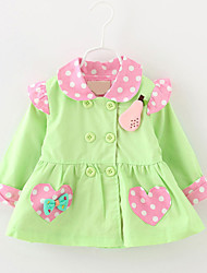 Girl's Trench Coat,Cotton Winter / Fall Blue / Green / Pink / Yellow