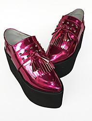 Punk Cuero 8 Tacón Cuña Rojo Zapatos de Lolita