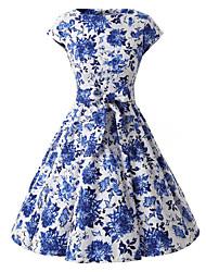 mangas das mulheres de vestido floral azul e branco, do vintage mangas anos 50 rockabilly balançar vestido