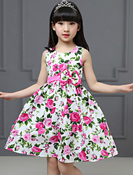 Girls Peony Flower Bow Belt 100% Cotton Party Holiday Baby Kids Clothing  Dresses (100% Cotton)