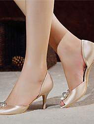 DamenHochzeit / Kleid / Party & Festivität-Satin-Stöckelabsatz-Zehenfrei / D'Orsay und Zweiteiler / Vorne offener Schuh-Rot / Champagner