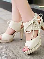 Women's Shoes Heel Heels / Peep Toe / Platform Sandals / Heels Outdoor / Dress / Casual Black / Pink / Beige
