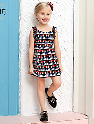 Girl's Multi-color Dress,Cotton Summer