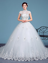 A-line Wedding Dress Court Train High Neck Lace / Tulle with Lace