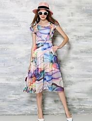 Mulheres Vestido Evasê / Swing Simples Estampado Médio Decote V Algodão / Poliéster