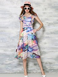 Women's Simple Print A Line Swing V Neck Midi Dress,
