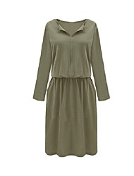 Women's Simple Solid Loose Dress,V Neck Knee-length Polyester