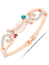 Casual Rose Gold / Alloy / Rhinestone / Gemstone & Crystal Bangle Bracelet