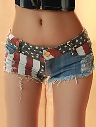 High Quality Fashion Women's Galaxy Blue Jeans / Shorts Pants,Sexy / Beach Flag Galaxy Jeans Shorts Pants