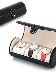3-Slot Cylindrical Watch Storage Travel Case with removable watch pillows